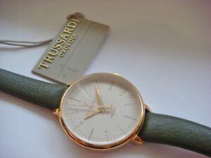 New TRUSSARDI Watch T Sun Ladies Rose Gold Steel Green R2451126502