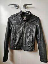 Womens genuine black leather jacket size 8