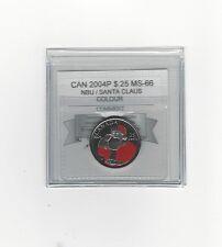 **2004P Colour Santa** Coin Mart Graded Canadian,  25 Cent, **MS-66 NBU**