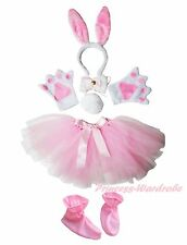 Easter White Bunny Rabbit Headband Bow Tail Paw Shoes Gauze Skirt 6p Kid Costume