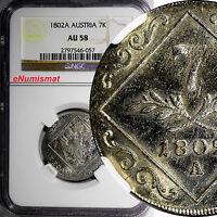 Austria Franz II (1792-1835) Silver 1802 A 7 Kreuzer NGC AU58  KM# 2129