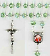 Saint Pope John Paul II - Iridescent Crystal Rosary - Chartreuse - Bonus St Anth