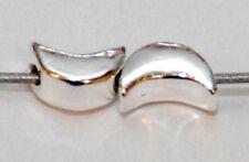 2 Argent sterling demi lune Espaceur Perles, 7 mm