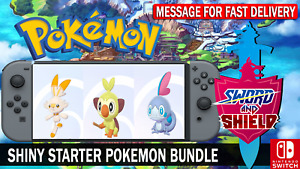 Pokemon Sword & Shield 6IV Shiny Scorbunny, Grookey, Sobble Battle Ready!!