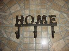 """""""HOME"""" Wall Plaque/ 3 Hooks Cast Iron, Decorative Usable 6.5"""" tall  X 11.5"""" wide"""