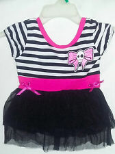 Too Fast toddler sugar skull gothic black white striped jersey top tutu skirt 2T