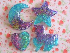 4 x Pretty Glitters Unicorn Star Moon Heart Flatback Resin Embellishment Craft