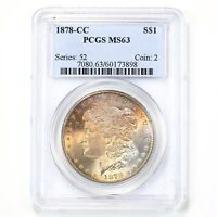 1878 Morgan $1 PCGS Certified MS63 Orange Colorful Toned Obv Silver Dollar Coin