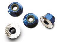 Traxxas 1/10 Bandit XL-5 * 4mm Aluminum Flanged Locking Nuts, Blue * 1747R