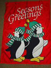 "Seasons Greetings Penguins Christmas Decorative Flag 35"" x 45"" winter"