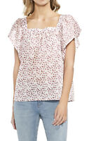 NWT Women's Vince Camuto S/S Floral Print Square Neck Blouse Top Sz Large