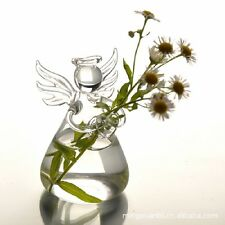Clear Glass Angel Shape Flower Plant Hanging Vase Home Office Wedding Decor