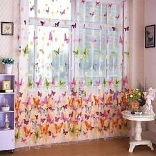 Door Window Sheer Curtain Panel Butterfly Print Sheer Curtain 200cm X 100cm