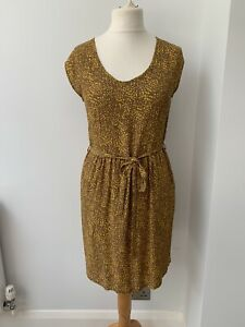Dickins & Jones Viscose Mustard Retro Style Designer Dress, UK 12 - 14