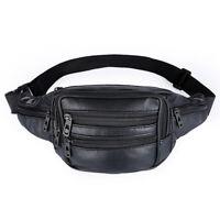 Mens Women PU/Leather Waist Fanny Pack Money Bum Zip Bag Belt Travel Gym Satchel