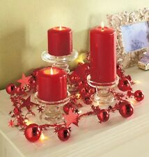 Shimmering RED Lighted ORNAMENT GARLAND With STARS AND Jingle Bells, NEW!