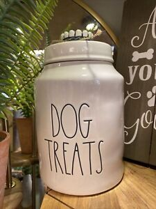 """Rae Dunn NEW """"DOG TREATS"""" Dog Canister  LL Font Ivory Inside & Out Dog Canister"""