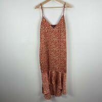 PrettyLittleThing Womens Dress 14 Petite Multicoloured Animal Print Sleeveless