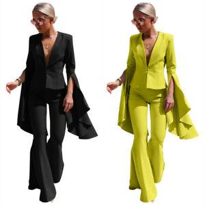 Women's Explosive Lapel Fashion Irregular Big Sleeve Flared Pants Suit