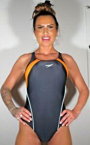 "Shiny Black Orange Speedo Lycra Spandex Swimsuit Swim Costume S UK 10 34"""