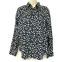 Ralph Lauren Button Down Top L Floral Print Black White Lightweight Womens Large