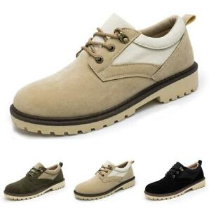 Men Leisure Leather Shoe Round Toe Work Lace up British Non-slip Outdoor Flats