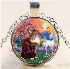 Cat,Unicorn,Pigeon,Rabbit Cabochon Glass Tibet Silver Chain Pendant Necklace