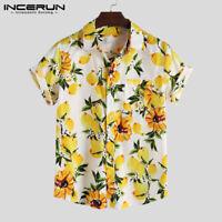 Men's Lemon Printed Hawaiian Shirt Short Sleeve Linen Cotton T shirt Tops Tee UK