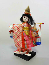 k#56 Japanese Vintage Kimono Cloth Gofun Doll 18cm / KABUKI 歌舞伎 SHIOKUMI