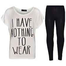 Girls Top Kids I Have Nothing To Wear Print T Shirt Tops & Legging Set 7-13 Year