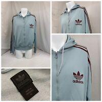 Adidas Hoodie Sweatshirt XL Blue Full Zip Poly Cotton Long Sleeve EUC YGI P0-431