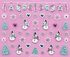 Christmas SILVER Snowflakes Snowman Xmas Tree Stocking 3D Nail Art Sticker Decal