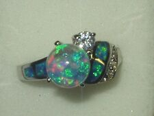 BEAUTIFUL  FLOATING  OPALS   SNOW GLOBE RING   SIZE 8