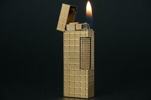 Dunhill Rollagas Lighter  Square Tartan Gold plated Working #W10