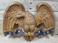 """Vintage Sexton Eagle 16"""" X 13"""" Bronze Colored Wall Hanger W Old Glory Banner"""