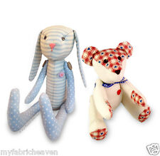 2 X Fabric Sewing PATTERNS Teddy Bear & Bunny Rabbit Soft Toy Independent Design