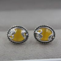 Pure S925 Sterling Silver & Yellow Jade Oval  Stud Women Lucky Carved Earrings
