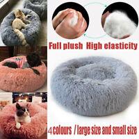 Pet Dog Cat Calming Bed Round Nest Warm Soft Plush Sleeping Flufy Washable Mat