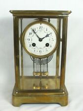 Japy Freres For Tiffany & Co Brass Crystal Mantel Clock w/ Real Mercury Pendulum