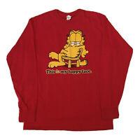 Vintage 90s Garfield T-Shirt Mens Medium Long Sleeve Red Comic Book Hip Hop OG