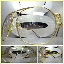 Mens OVERSIZED VINTAGE RETRO Style Clear Lens SUN GLASSES Large Gold Metal Frame