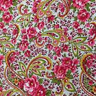 Mia Mia Paisley Pink Cotton Quilting Patchwork Sewing Craft Fabric half 1/2 Yard