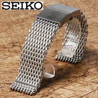 STAINLESS STEEL SHARK MESH BRACELET FOR SEIKO DIVERS WATCH BUTTERLY CLASP 22MM