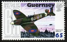 RAF SUPERMARINE SPITFIRE WWII Aircraft Stamp (Battle of Britain 60th / Guernsey)