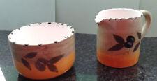 Italienische Keramik Service Olive Handgemalt - Zuckerdose und Sahnekännchen