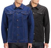 Men's Classic Casual Stretch Denim Button Up Multi Pocket Trucker Jean Jacket
