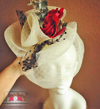 ROYAL ASCOT Kentucky DERBY Fascinator Hat Ivory Red Rose Black Gift Melbourne Cp