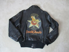 VINTAGE Avirex A2 Leather Jacket Adult Small Brown Double Trouble Coat Mens 1991