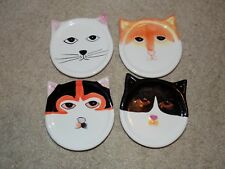 Four Hand-Painted Ceramic Cat Coasters by Bandwagon 2001- Cat Coasters Euc