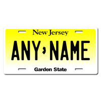 Personalized New Jersey License Plate for Bicycles, Kid's Bikes & Cars Ver 1